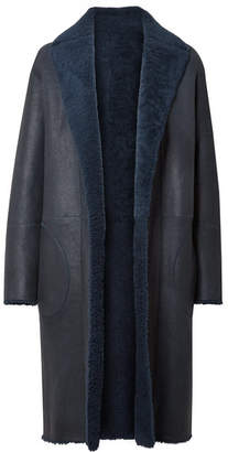 Akris Trace Reversible Shearling Coat - Navy
