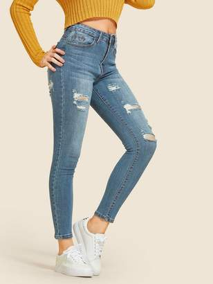 49543584a1 Shein Ripped Stitch Detail Faded Wash Jeggings
