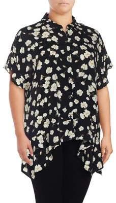 Lord & Taylor Plus Sofia Floral Asymmetric Shirt