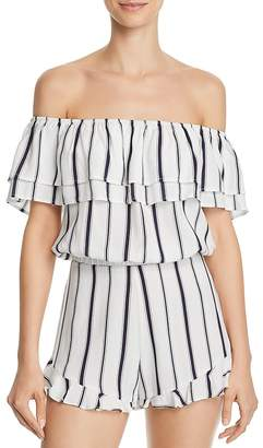 Blu Pepper Striped Off-the-Shoulder Cropped Top