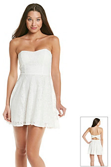 Trixxi Juniors' White Crochet Bow Back Dress