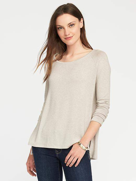 Loose Soft-Spun Scoop-Neck Tee for Women
