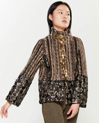 Save the Queen Sequin Embellished Bell Sleeve Jacket