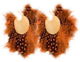 Katerina Makriyianni feather hoop earrings