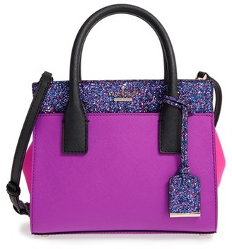 Kate Spade New York Cameron Street - Mini Candace Glitter Leather Satchel - Pink $328 thestylecure.com
