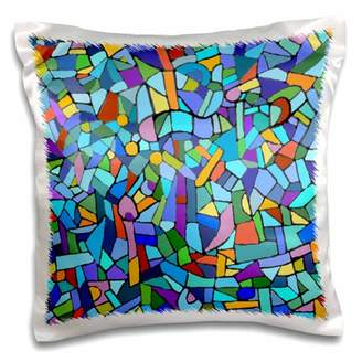 Gaudi' 3dRose Bright Vibrant and Colorful Blue Gaudi inspired mosaic pattern - stain glass like - multicolored - Pillow Case, 16 by 16-inch