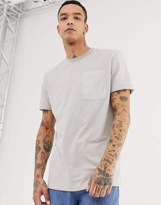 Asos Design DESIGN relaxed longline t-shirt with contrast pocket and panels in woven fabric in gray