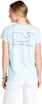 Vineyard Vines Reverse Stripe Vintage Whale Pocket Tee