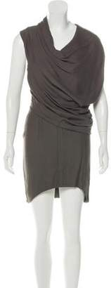 Helmut Lang Cowl Neck Draped Mini Dress