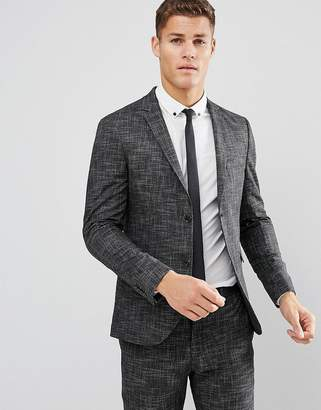 Jack and Jones Slim Suit Jacket In Crosshatch