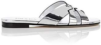 Prada Women's Metallic Leather Slide Sandals - Silver