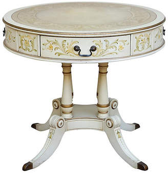 One Kings Lane Vintage French Empire Leather Top Drum Table