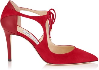 Jimmy Choo VANESSA 85 Red Suede and Nappa Pointy Toe Pumps
