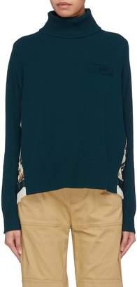 Sacai Graphic print pleated back rib knit turtleneck sweater