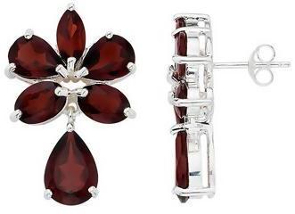 Ice.com 14 1/3 Carat Garnet Sterling Silver Earrings