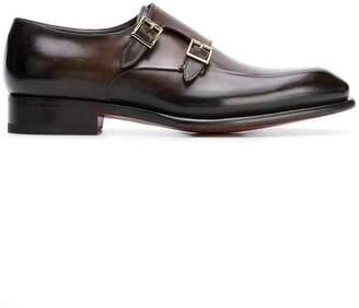 Santoni double strap monk shoes