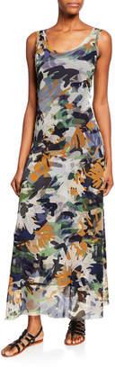 Fuzzi Camo-Print Scoop-Neck A-Line Tank Maxi Dress