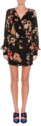 ATTICO Long-Sleeve Floral-Print Velvet Mini Dress