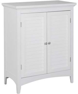 Elegant Home Fashions Sicily Floor Cabinet with 2 Shutter Doors, White