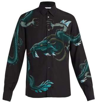 Givenchy Dragon Print Crepe Shirt - Mens - Black