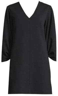 Tibi V-Neck Shirred Sleeve Dress