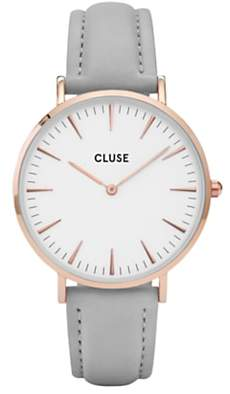 Cluse CL18015 Women's La Boheme Rose Gold Leather Strap Watch, Light Grey/White