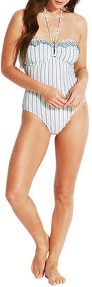 Seafolly Striped Embroidered Bandeau One-Piece Swimsuit