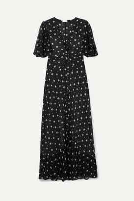 Rixo Zhandra Floral-print Silk Crepe De Chine Midi Dress - Black