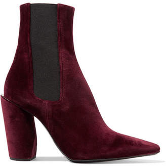 Velvet Ankle Boots - Burgundy