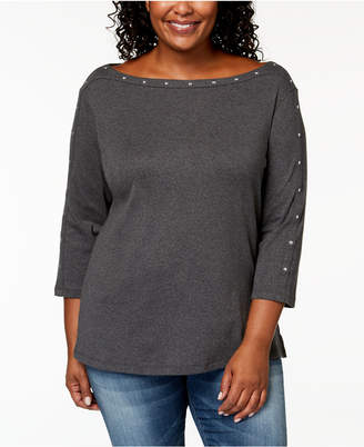 Karen Scott Plus Size Cotton Studded Top, Created for Macy's