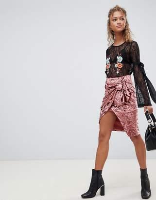 Glamorous draped velvet skirt