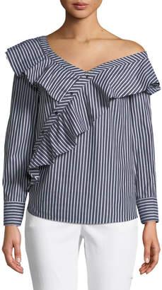 Kensie Asymmetric Ruffle-Front Button-Down Striped Blouse