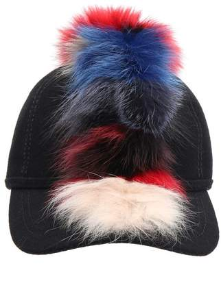 Lafayette House Of House Of Wool Cap With Multicolor Fur Pom Pom