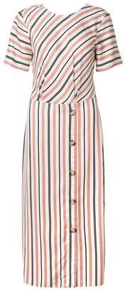 Oliver Bonas Womens Tan Stripe Tie Back Midi Dress - Brown