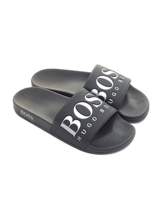 9ba5f71ed Boss Footwear BOSS Footwear Solar Logo Sliders Colour: BLACK AND WHITE,  Size: UK