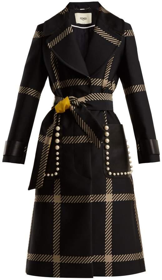 FENDI Notch-lapel tie-waist checked coat