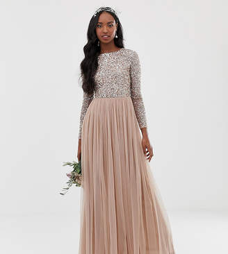 Maya Tall Long Sleeve Sequin Top Maxi Tulle Dress