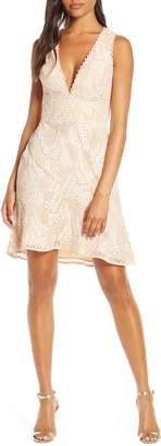Adelyn Rae Hazel Plunging V-Neck Lace Cocktail Dress