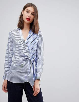 Warehouse Striped Tie Front Satin Blouse