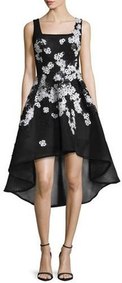 Jovani Sleeveless High-Low Lace-Trim Cocktail Dress, Black/White $695 thestylecure.com