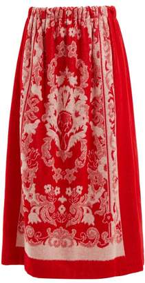 Gucci - Floral Jacquard Terry Towelling Skirt - Womens - Red White