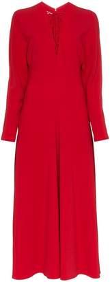 Stella McCartney red lace v neck dress