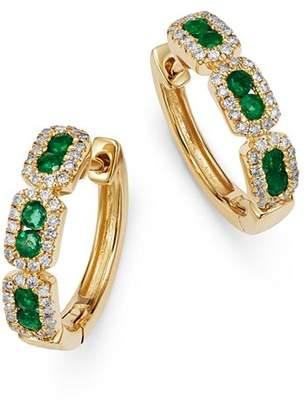 Bloomingdale's Emerald & Diamond Mini Hoop Earrings in 14K Yellow Gold - 100% Exclusive