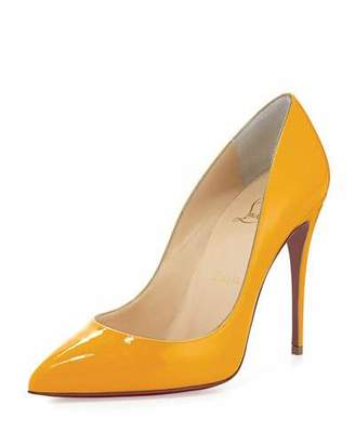 Christian Louboutin Pigalle Follies Patent 100mm Red Sole Pump, Yellow $675 thestylecure.com