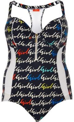 River Island River Island Womens Plus navy blue mesh girl print swim suit