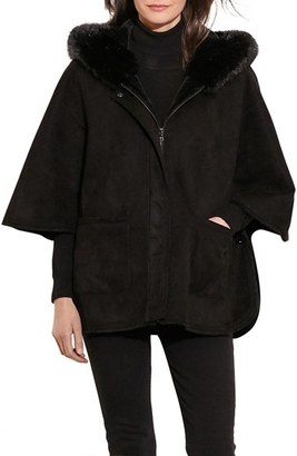 Women's Lauren Ralph Lauren Hooded Faux Shearling Coat $350 thestylecure.com