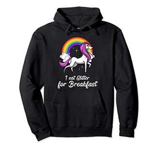 Unicorn I Eat Glitter For Breakfast Magical Women Girls Kids Pullover Hoodie