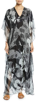 Marie France Van Damme Boubou Floral-Print Chiffon Coverup Dress