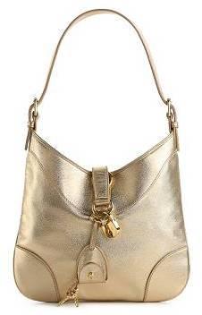Ralph Lauren Metallic Leather Lock & Key Shoulder Bag