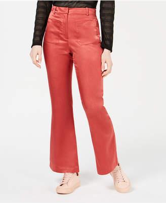 Moon River Satin Patch-Pocket Pants